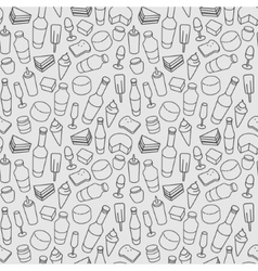 Food line icon seamless pattern Modern vector image vector image