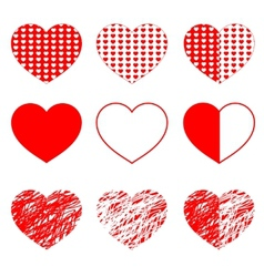 Hearts set for wedding and valentine design vector image