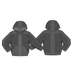 hooded jacket with zip closure and pockets vector image