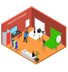 photo studio interior with furniture isometric vector image