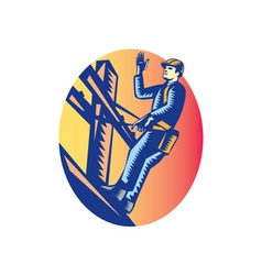 Power Lineman Electric Post Waving Oval Woodcut vector image vector image