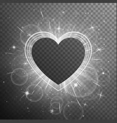 Silver heart shaped frame vector
