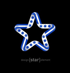 Star with Israel flag elements vector image vector image