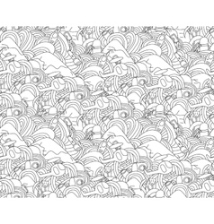 Abstract doodle seamless pattern with objects for vector