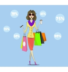 Buyer Girl with shopping bags vector image