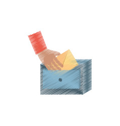 Drawing cabinet mail envelope storage vector