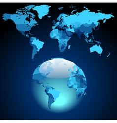 Globe on dark blue World map vector image vector image
