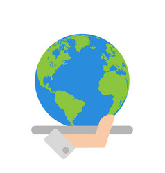 hand with global planet vector image vector image