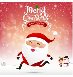 Merry christmas santa claus cartoon running on vector