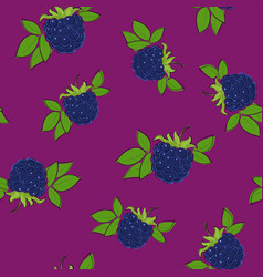 Seamless pattern blackberry on lilac background vector