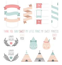 Set of cute ribbons labels droplet vector
