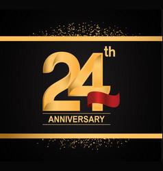 24 years anniversary logotype with premium gold vector