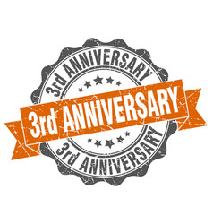 3rd anniversary stamp sign seal vector image