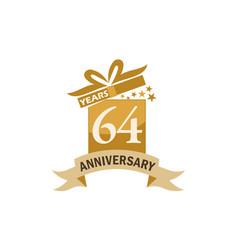 64 years gift box ribbon anniversary vector image