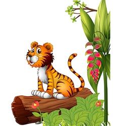 A tiger above a trunk vector image