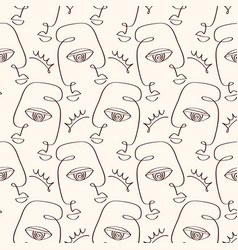 abstract primitive faces seamless pattern texture vector image