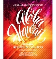Aloha hawaii summer beach party poster vector