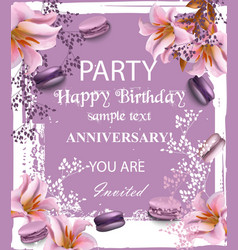 birthday party invitation flowers and vector image