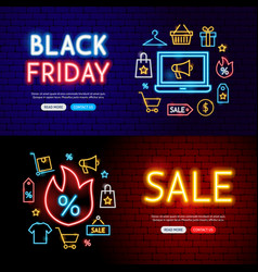 Black friday neon website banners vector