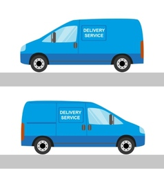 Blue delivery van isolated view from two sides vector