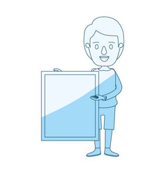 Blue silhouette shading caricature full body man vector
