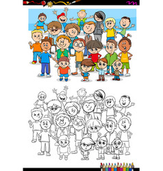 Boys characters group coloring book vector
