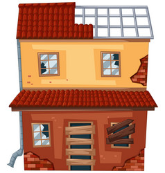 Brick house with broken roof and windows vector