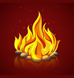 burning campfire with fire vector image