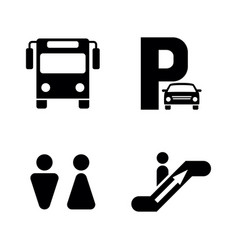 Bus station simple related icons vector