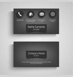 Business card dark with design labels template vector
