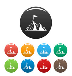 Business mountain target icons set color vector