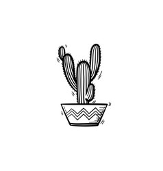 Cactus in a pot hand drawn sketch icon vector