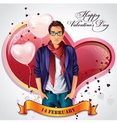 Card for Valentines Day with hearts and balloons vector image