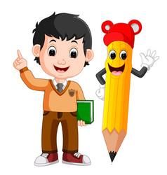 cartoon boy with a big pencil vector image