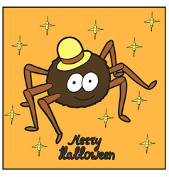 Cartoon cute spider in hat merry halloween vector
