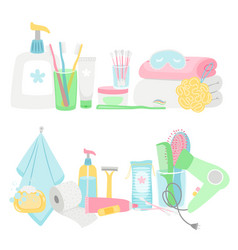Cartoon hygiene elements and accessories vector