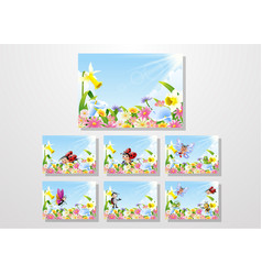 Cartoon insects on flower field collections set vector