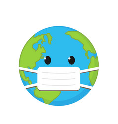 Cartoon planet in medical mask vector