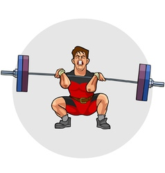 cartoon weightlifter with an effort squeezing vector image