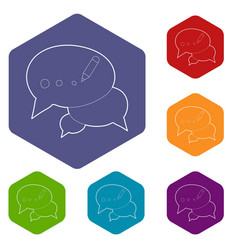 Chat icons hexahedron vector