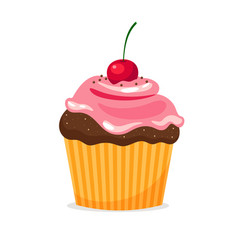 chocolate cupcake with cream and cherry vector image