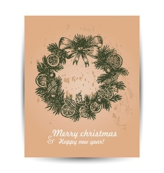 Christmas card with a wreath in the middle vector image