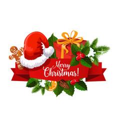 Christmas ribbon banner with santa gift and hat vector