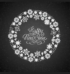 Christmas round wreath template vector