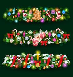 Christmas tree and holly garland gifts ribbons vector