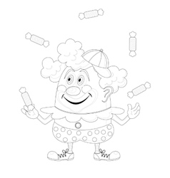 Circus clown juggling candies contour vector