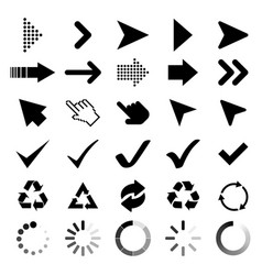 collection arrows cursor icons check marks black vector image