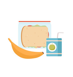 Colorful appetizing snack food in lunch box vector