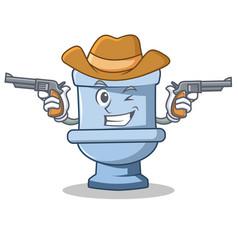 cowboy toilet character cartoon style vector image