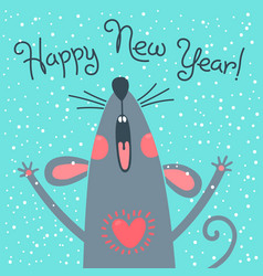 cute gray rat wishes happy new year postcard with vector image